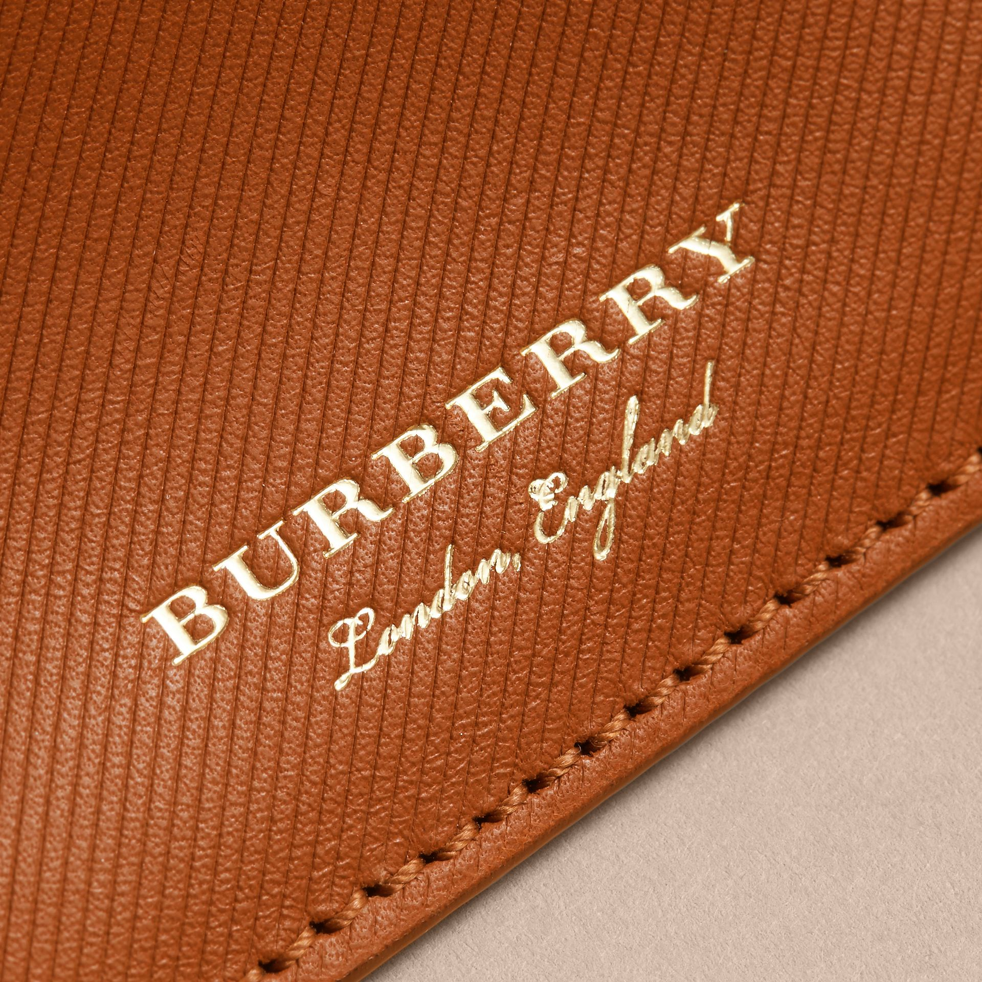 Trench Leather Card Case in Tan - Men | Burberry Canada - gallery image 1