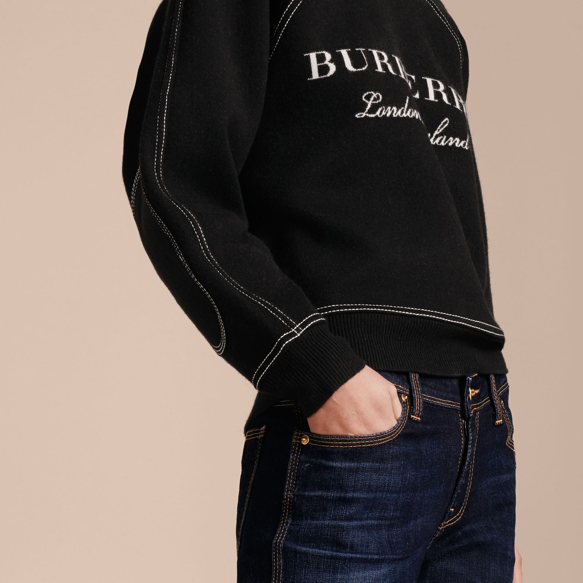 Topstitch Detail Wool Cashmere Blend Sweater in Black - Women | Burberry - gallery image 5