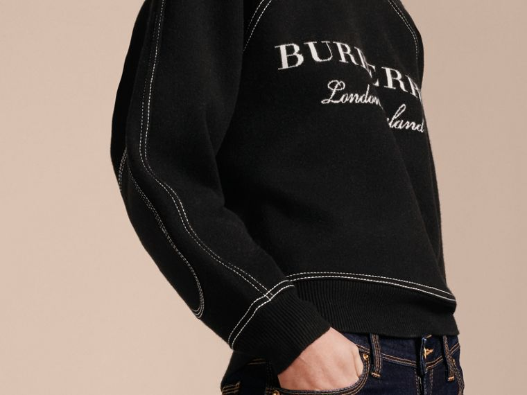 Topstitch Detail Wool Cashmere Blend Sweater in Black - Women | Burberry - cell image 4