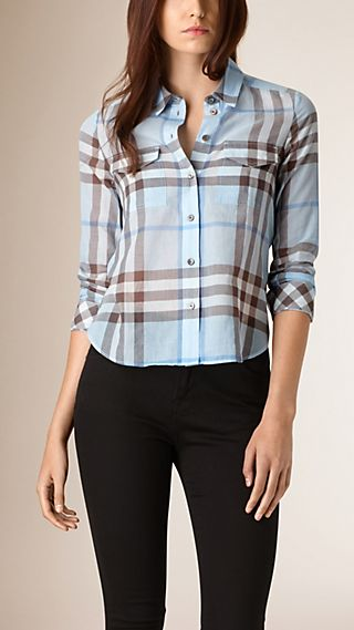Slim Fit Cropped Check Cotton Shirt