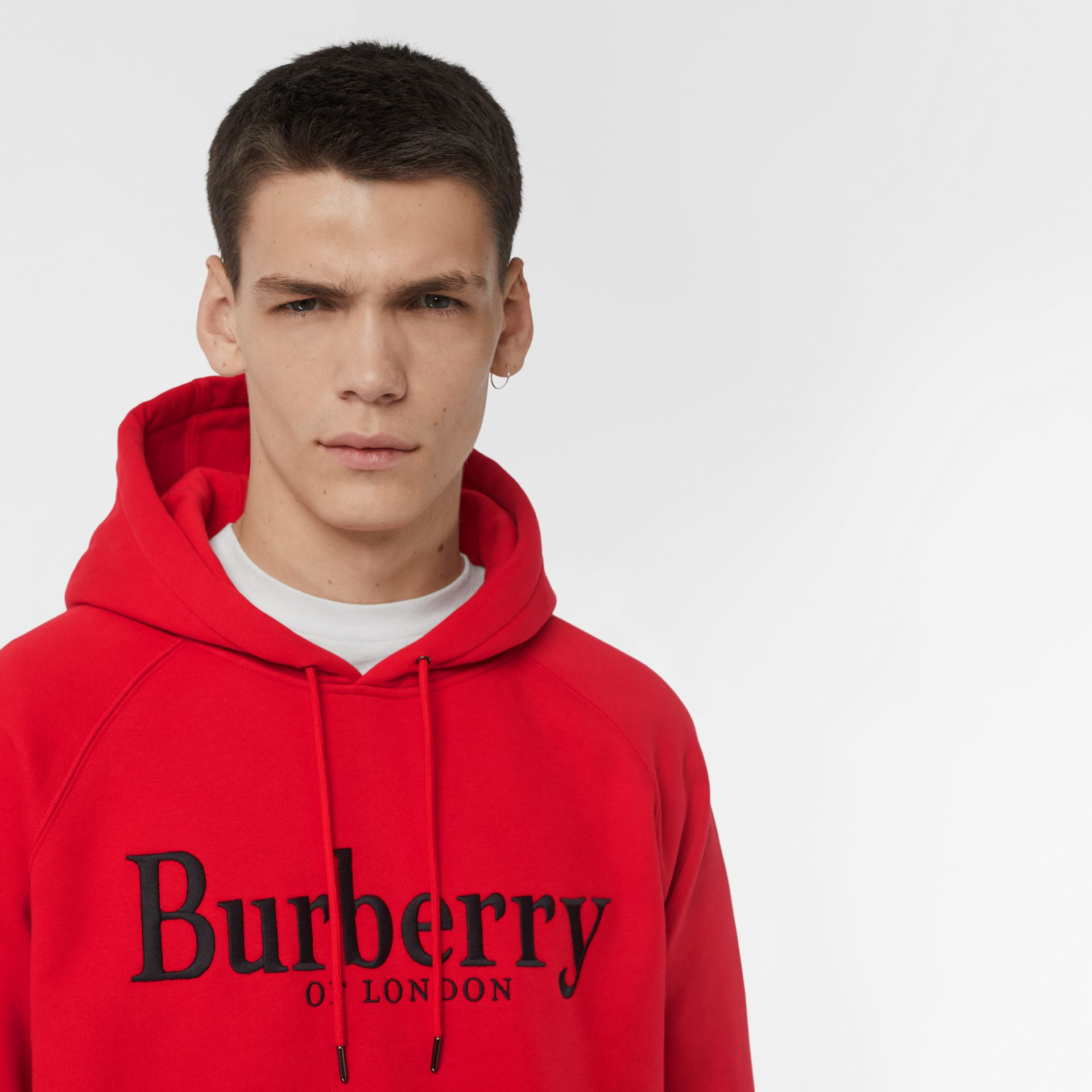 Embroidered Logo Jersey Hoodie in Bright Red - Men | Burberry - gallery image 1