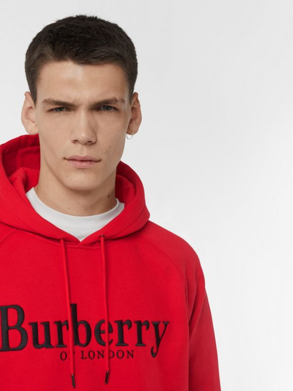 Embroidered Logo Jersey Hoodie in Bright Red - Men | Burberry United States - cell image 1