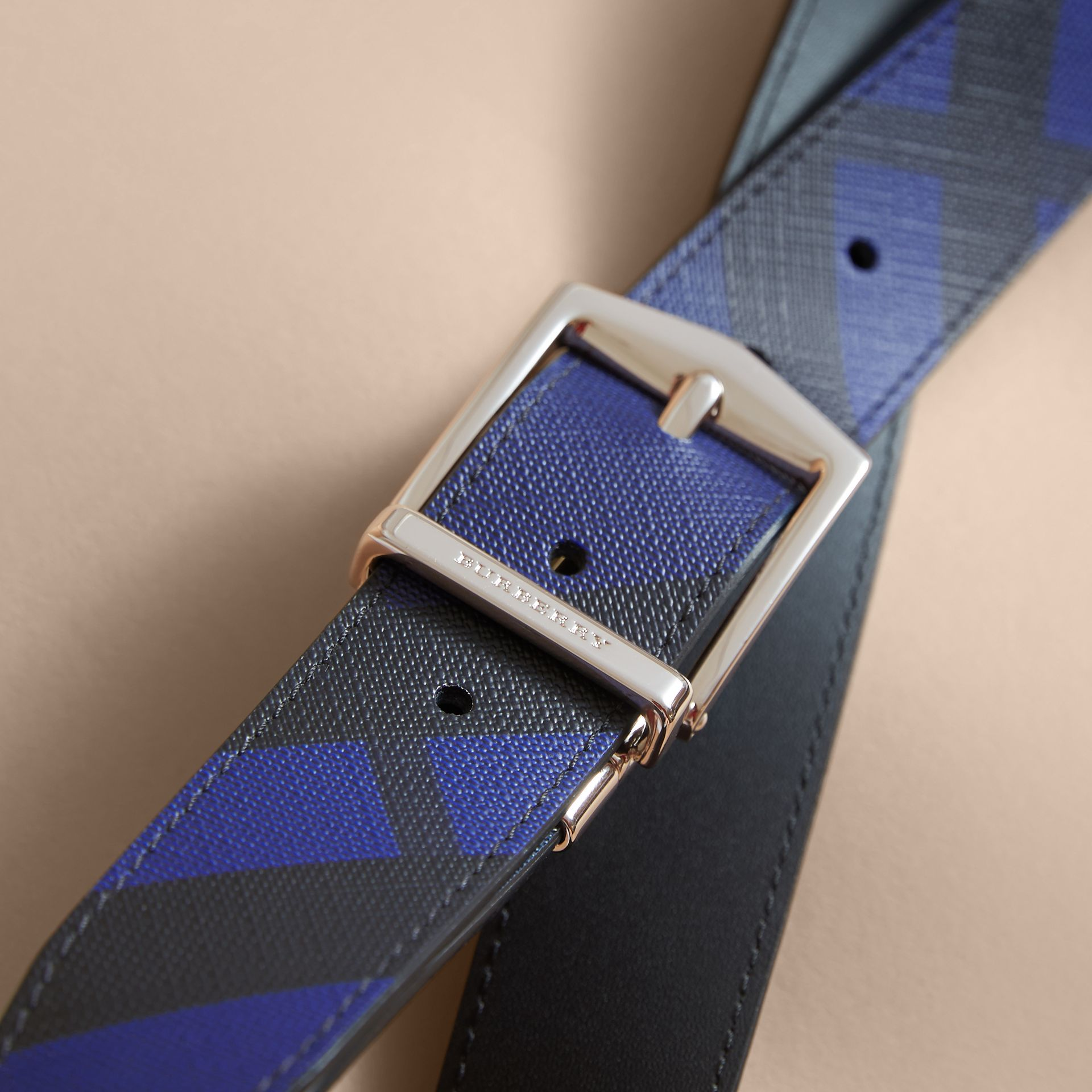 Reversible London Check and Leather Belt Bright Lapis/black - gallery image 4
