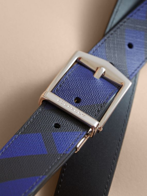 Reversible London Check and Leather Belt Bright Lapis/black - cell image 3