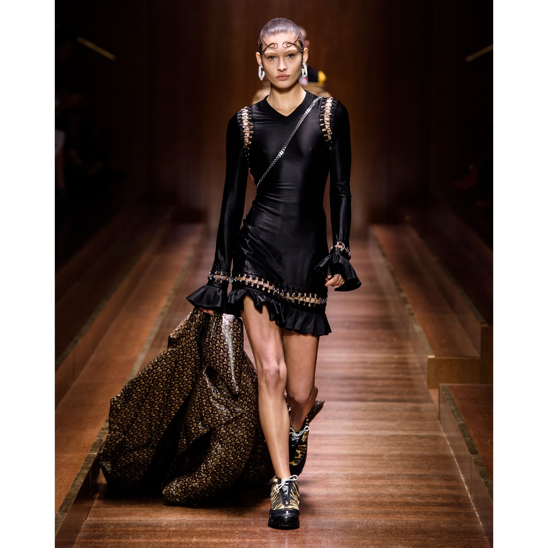 Ring-pierced Stretch Jersey Mini Dress in Black - Women | Burberry - gallery image 8
