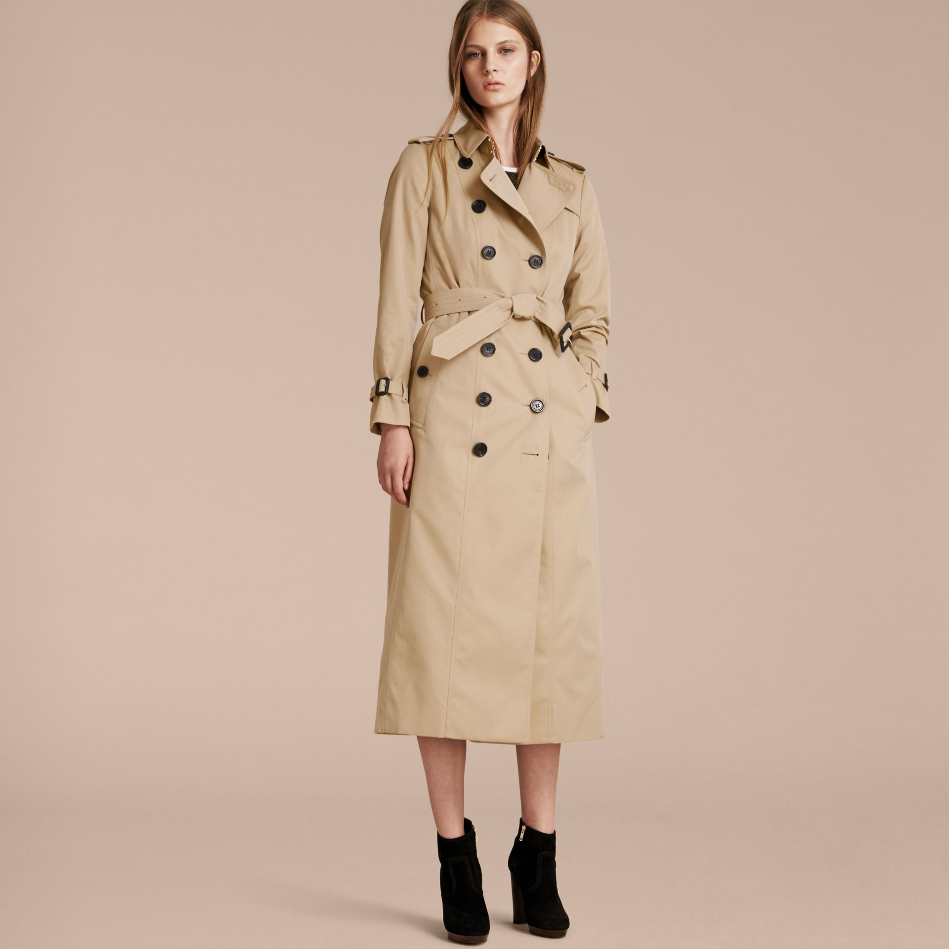Long Cotton Gabardine Trench Coat - gallery image 7