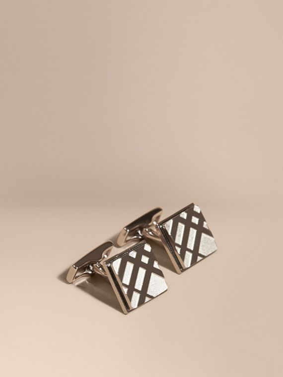 Check-engraved Square Cufflinks in Silver - Men | Burberry