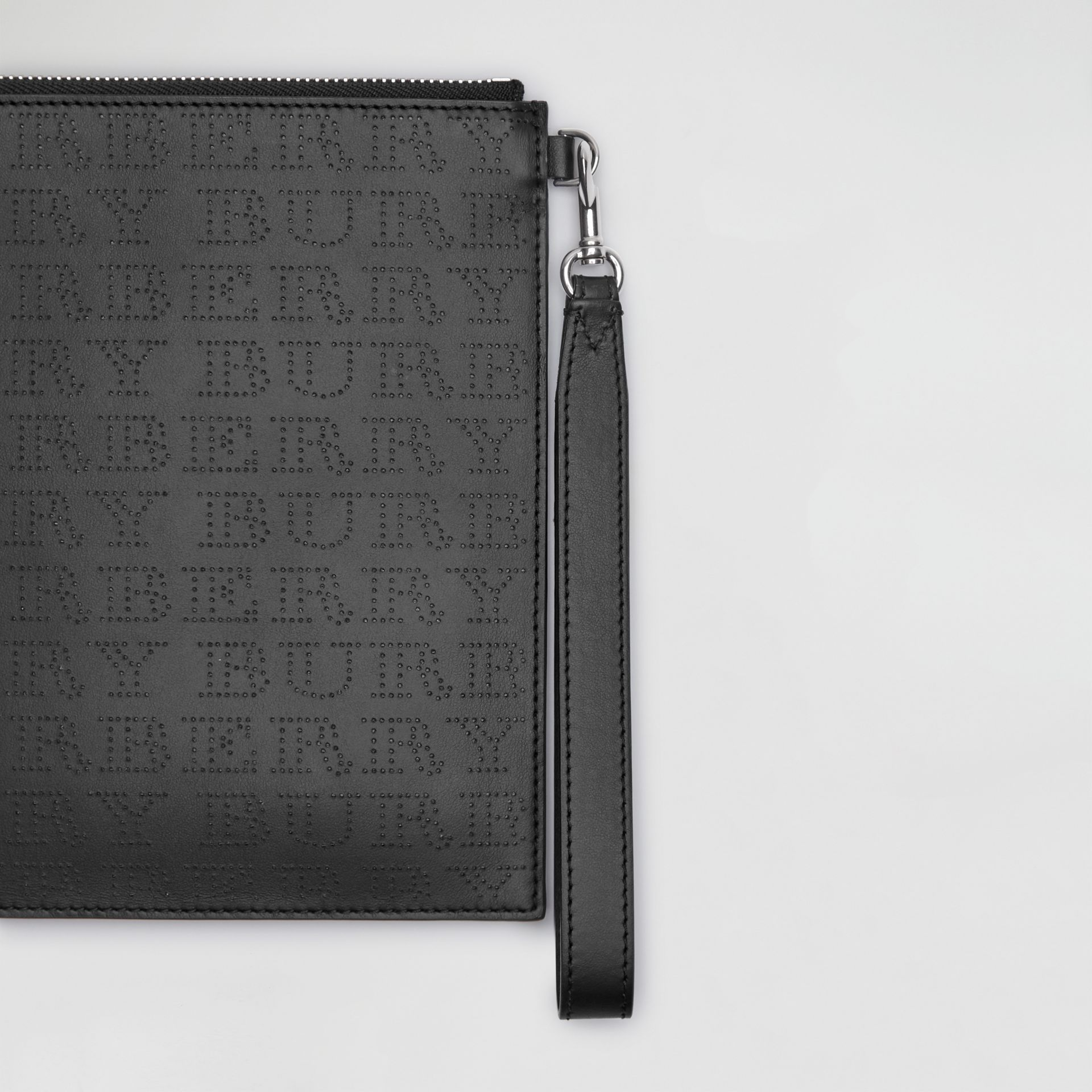 Perforated Logo Leather Zip Pouch in Black | Burberry - gallery image 1