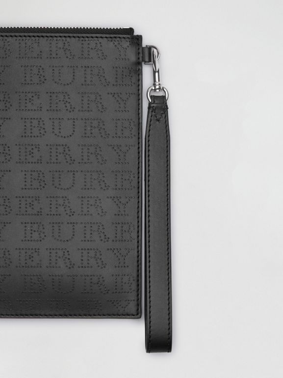 Perforated Logo Leather Zip Pouch in Black | Burberry Australia - cell image 1