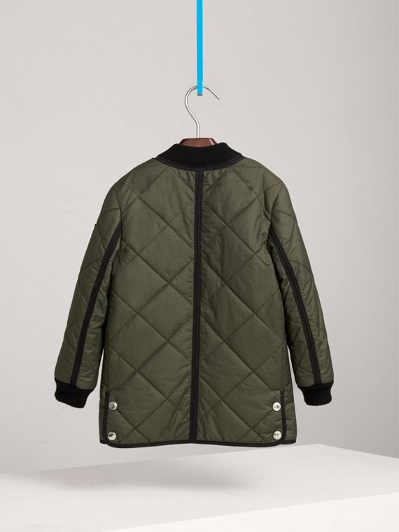 Quilted Cotton Blend Coat in Olive - Girl | Burberry - cell image 3