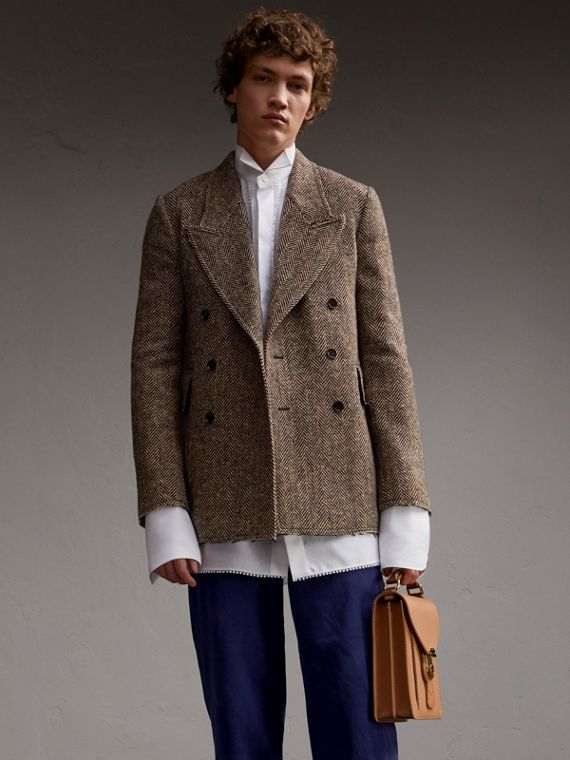 Donegal Herringbone Wool Tweed Jacket with Raw Edges