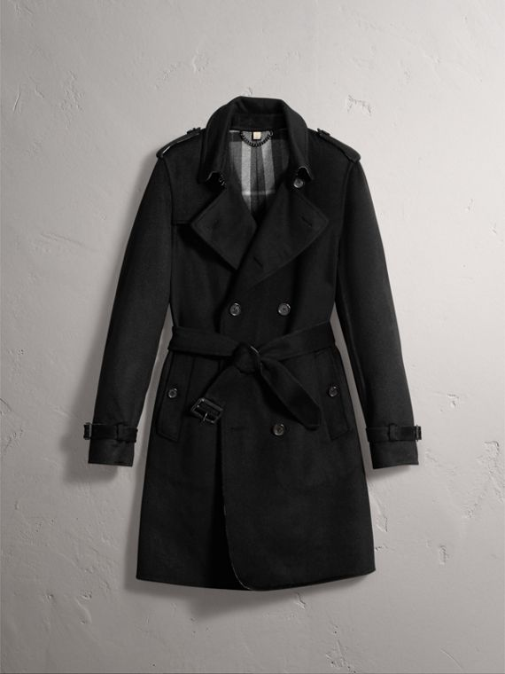 Cashmere Wool Trench Coat in Black - Men | Burberry Hong Kong - cell image 3