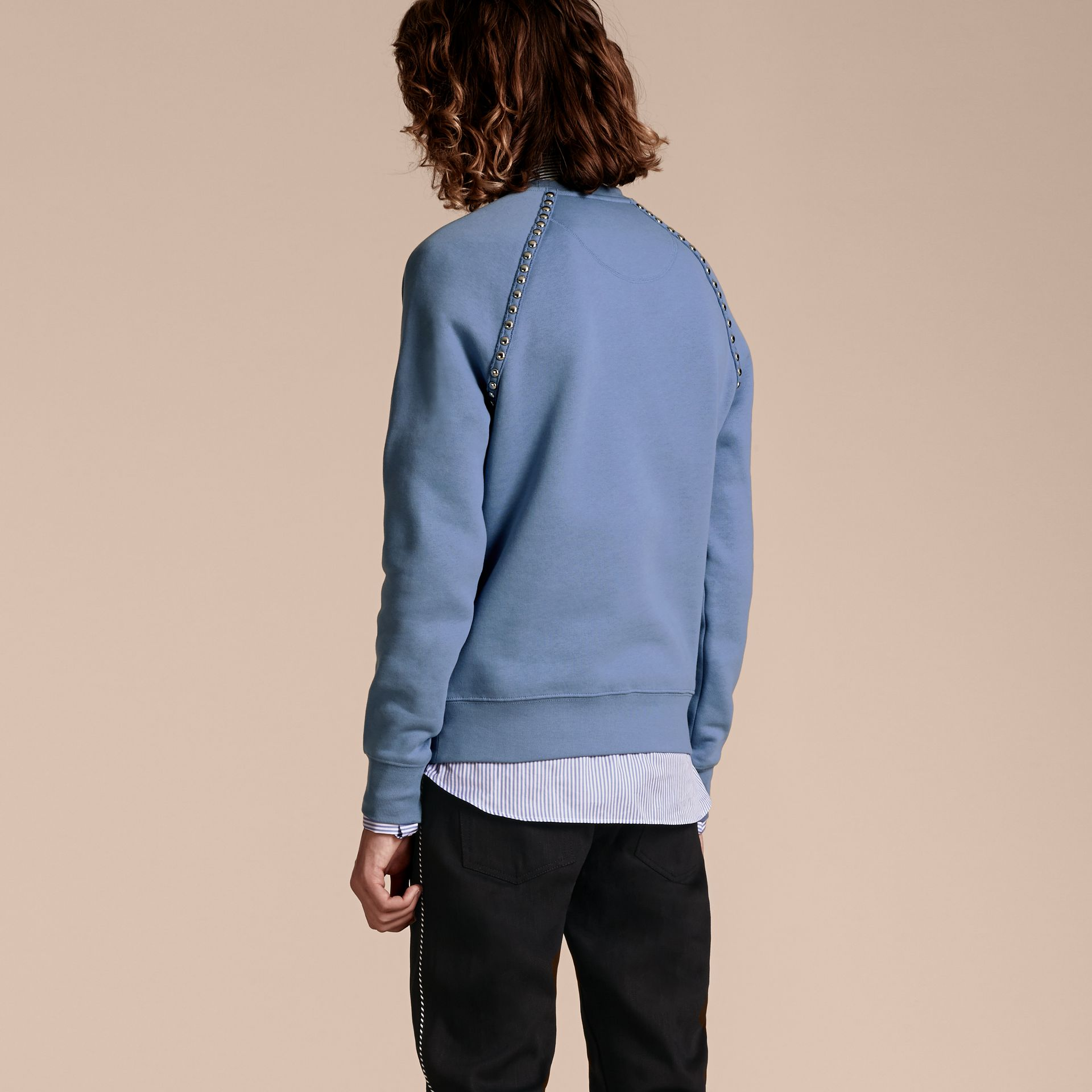 Light blue Stud Detail Cotton-blend Sweatshirt - gallery image 3