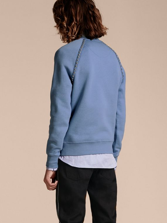 Light blue Stud Detail Cotton-blend Sweatshirt - cell image 2