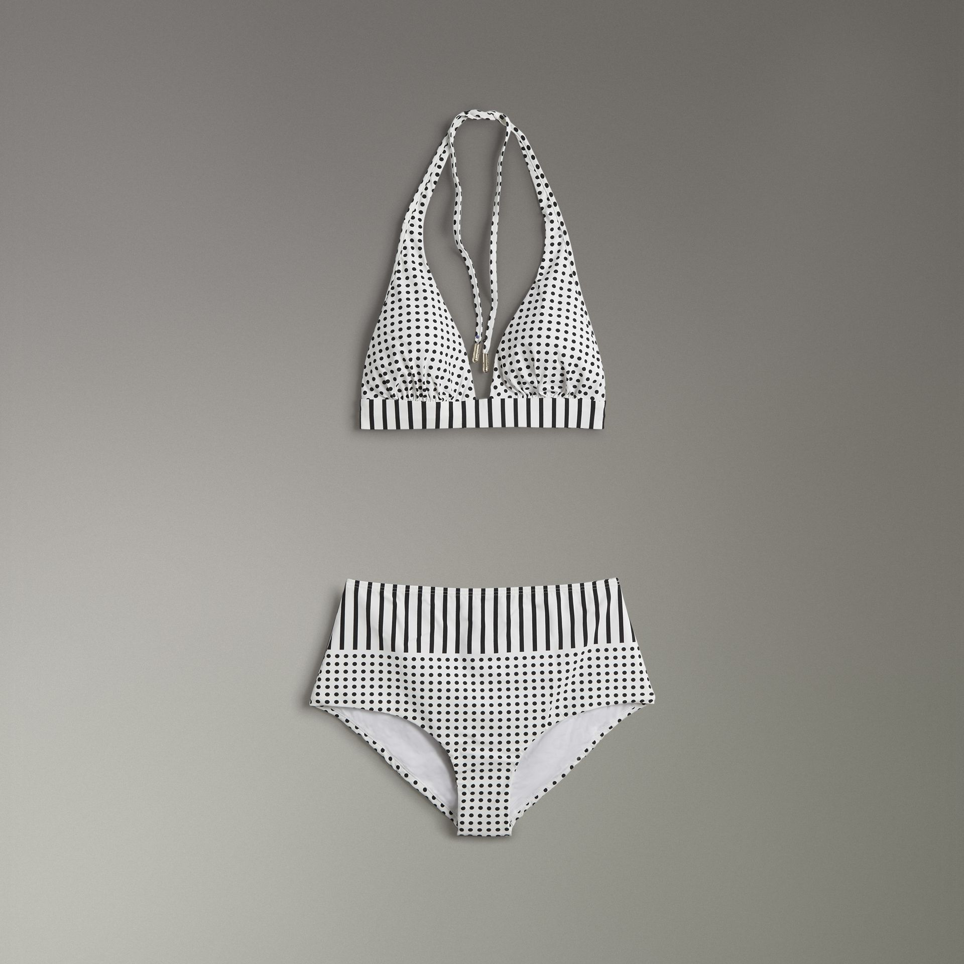 Polka-dot and Stripe Print Halterneck Bikini in Black - Women | Burberry - gallery image 0