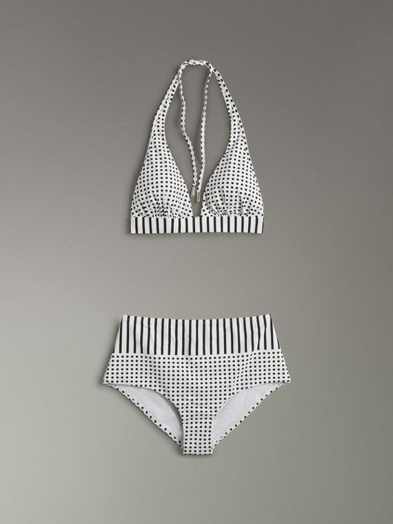 Polka-dot and Stripe Print Halterneck Bikini in Black