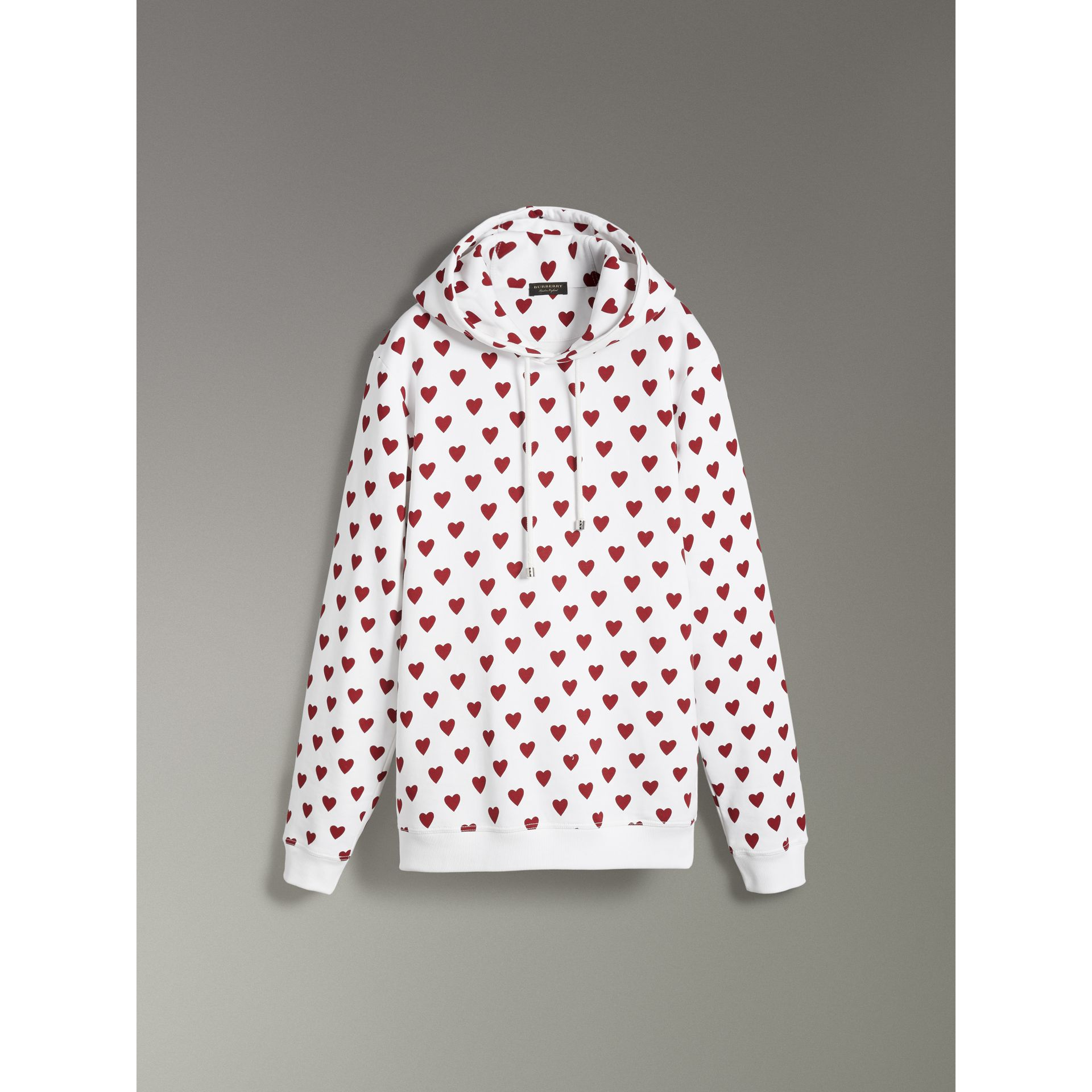 Heart Print Hoodie in Windsor Red - Women | Burberry United Kingdom - gallery image 3