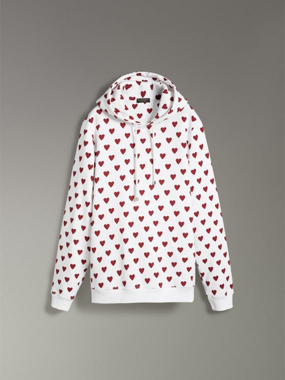 Heart Print Hoodie in Windsor Red - Women | Burberry United Kingdom - cell image 3