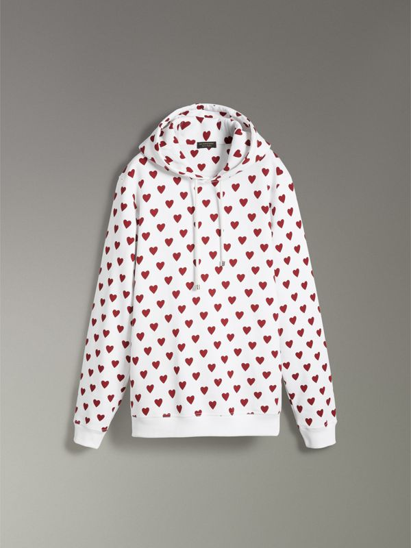Heart Print Hoodie in Windsor Red - Women | Burberry United States - cell image 3