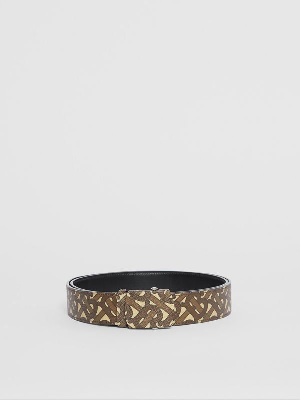 Monogram Print E-canvas Belt in Bridle Brown - Men | Burberry United Kingdom - cell image 3
