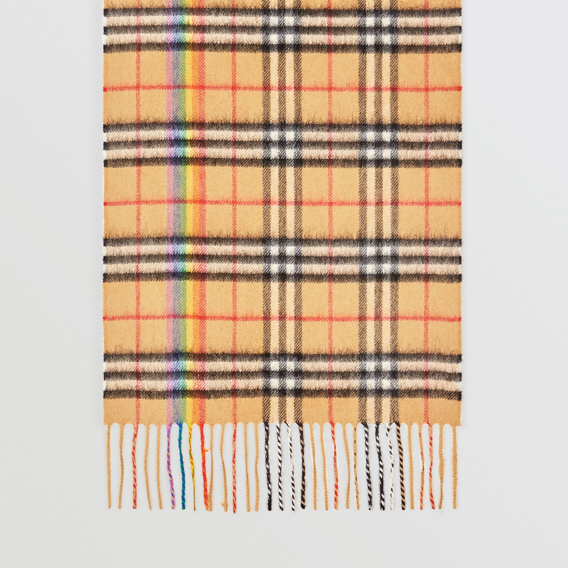 The Classic Rainbow Vintage Check Cashmere Scarf in Antique Yellow | Burberry - gallery image 4