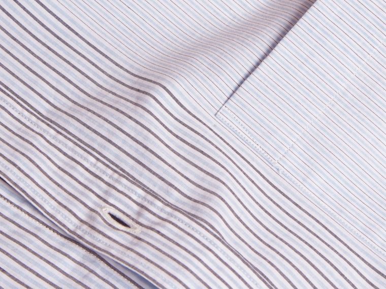 Light blue Panelled Stripe Cotton Shirt - cell image 1