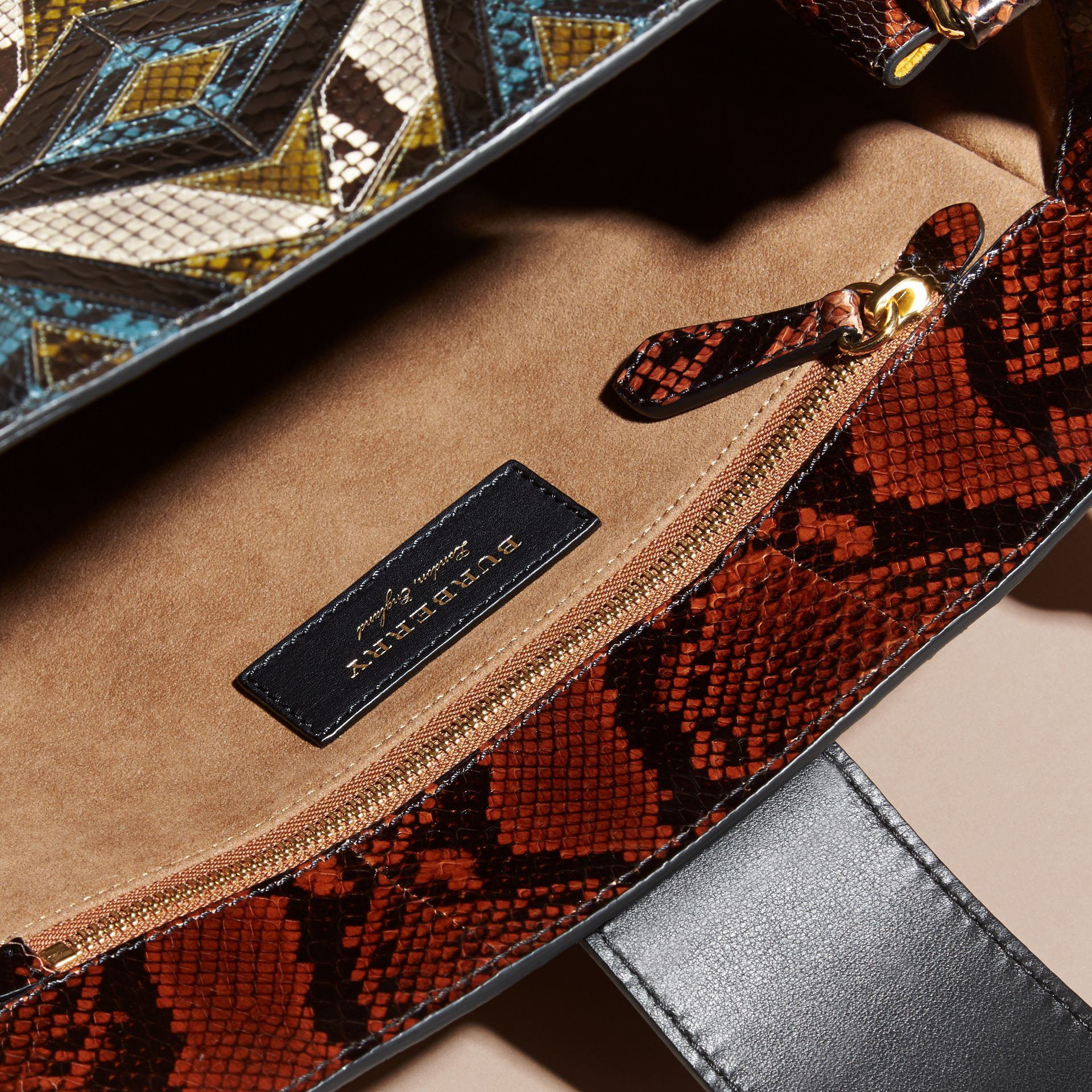 The Medium Buckle Tote in Tiled Snakeskin in Mineral Blue - Women | Burberry - gallery image 6