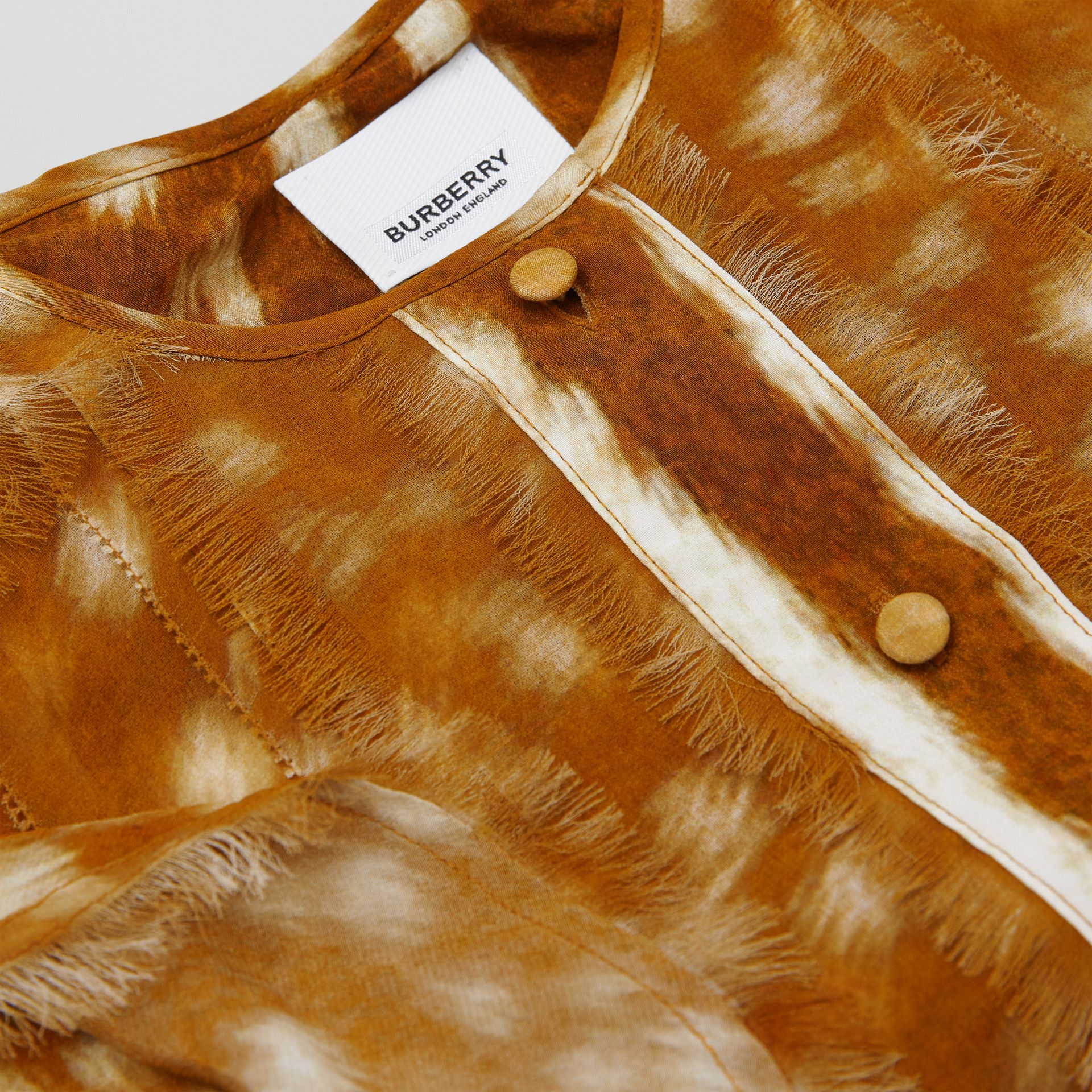 Ruffle Detail Deer Print Silk Dress in Honey | Burberry Australia - gallery image 1