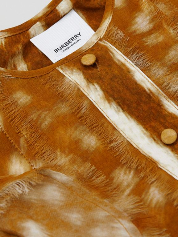 Ruffle Detail Deer Print Silk Dress in Honey | Burberry - cell image 1