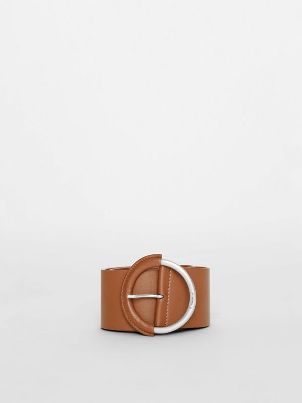 Round Buckle Leather Belt in Tan - Women | Burberry United Kingdom - cell image 2
