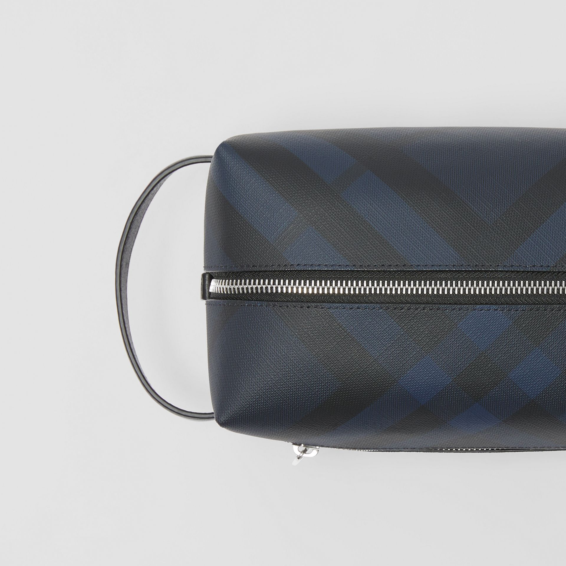 London Check and Leather Pouch in Navy/black - Men | Burberry Singapore - gallery image 1