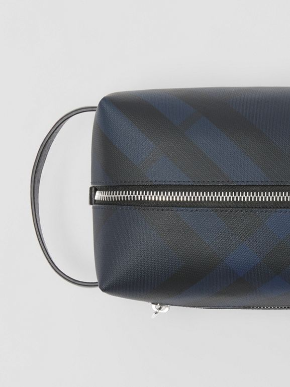 London Check and Leather Pouch in Navy/black - Men | Burberry Singapore - cell image 1