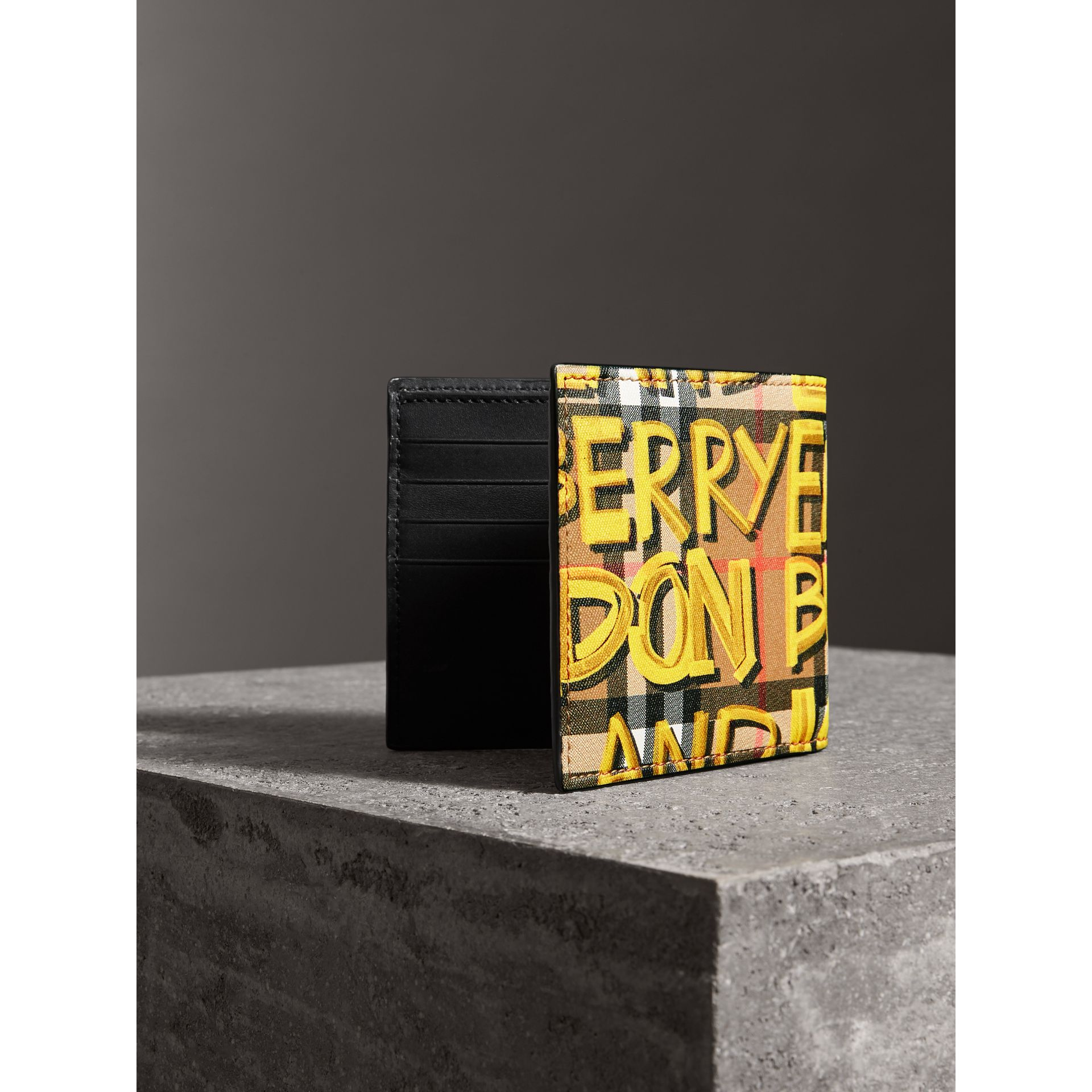 Graffiti Print Vintage Check International Bifold Wallet in Bright Yellow/antique Yellow - Men | Burberry Australia - gallery image 2