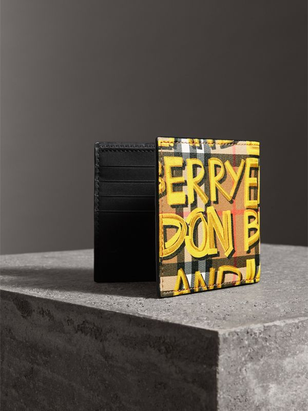 Graffiti Print Vintage Check International Bifold Wallet in Bright Yellow/antique Yellow - Men | Burberry Hong Kong - cell image 2