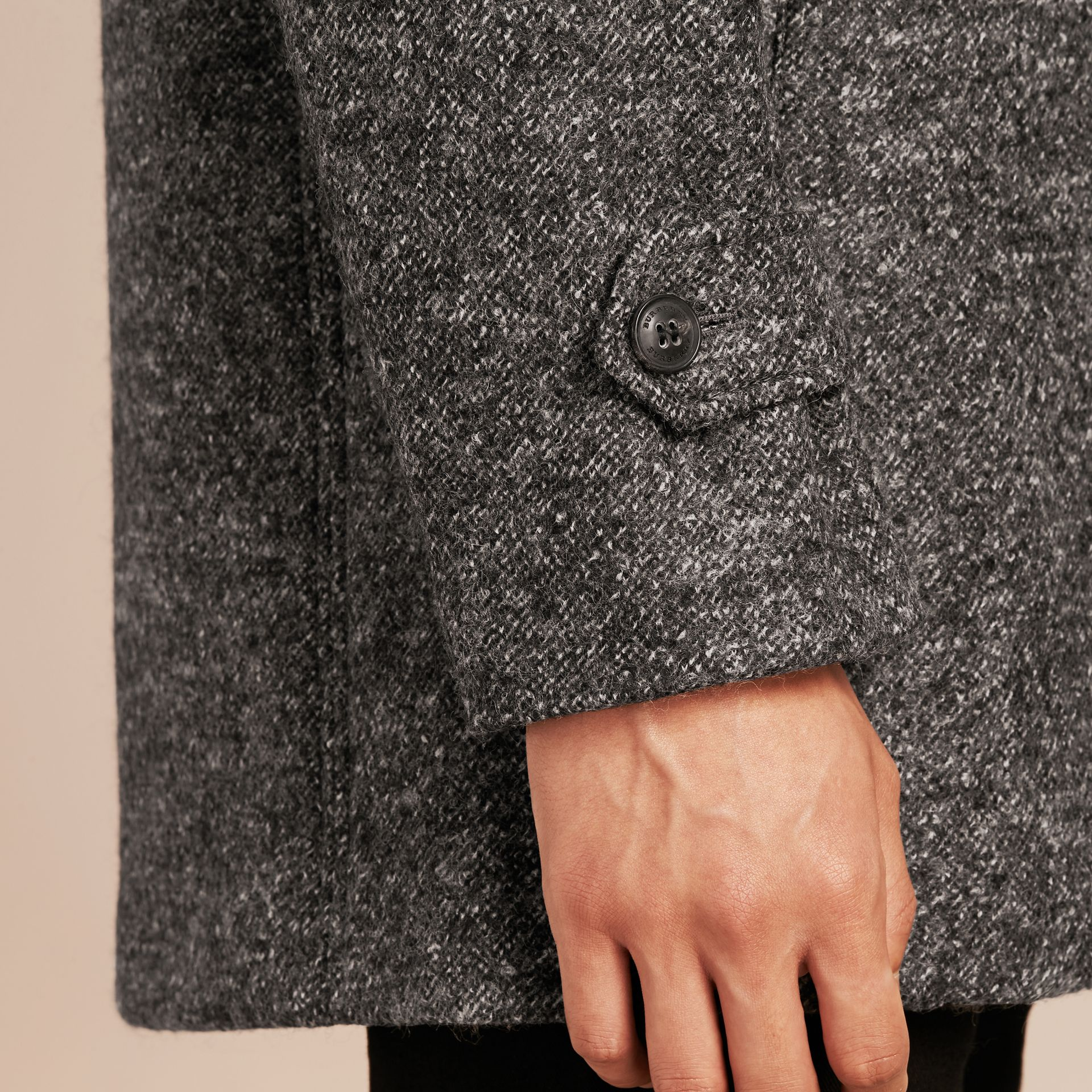 Mid grey melange Brushed Melange Wool Car Coat - gallery image 6