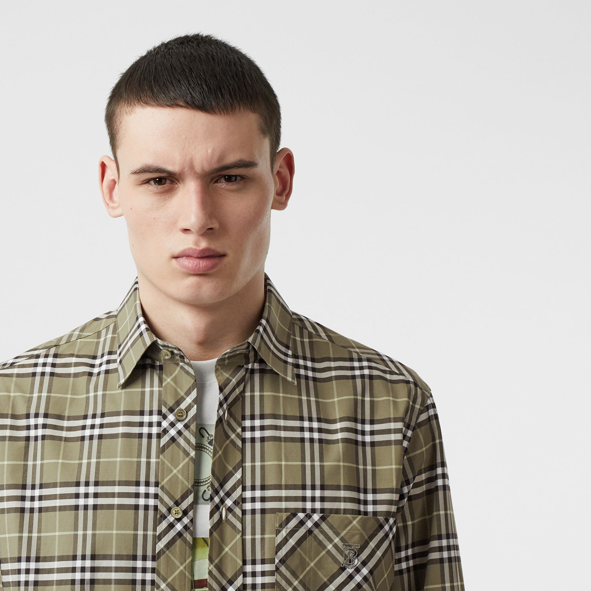 Small Scale Check Stretch Cotton Shirt in Chalk Green - Men | Burberry - gallery image 1