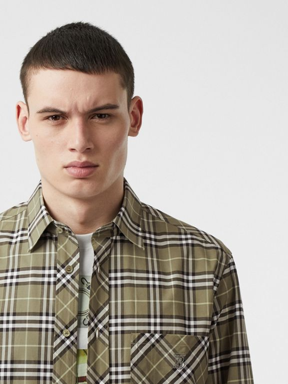 Small Scale Check Stretch Cotton Shirt in Chalk Green - Men | Burberry - cell image 1