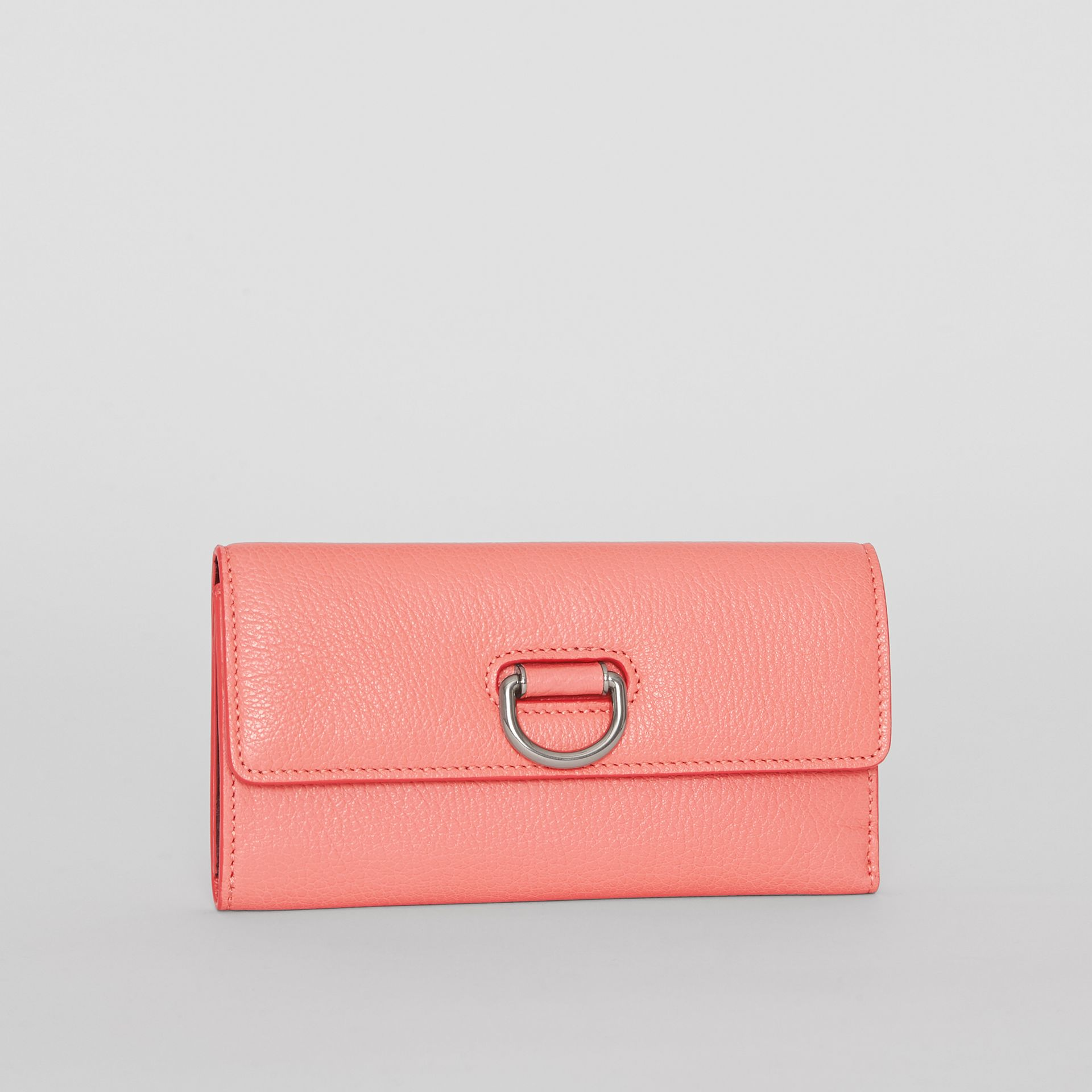 D-ring Grainy Leather Continental Wallet in Bright Coral Pink - Women | Burberry United Kingdom - gallery image 4