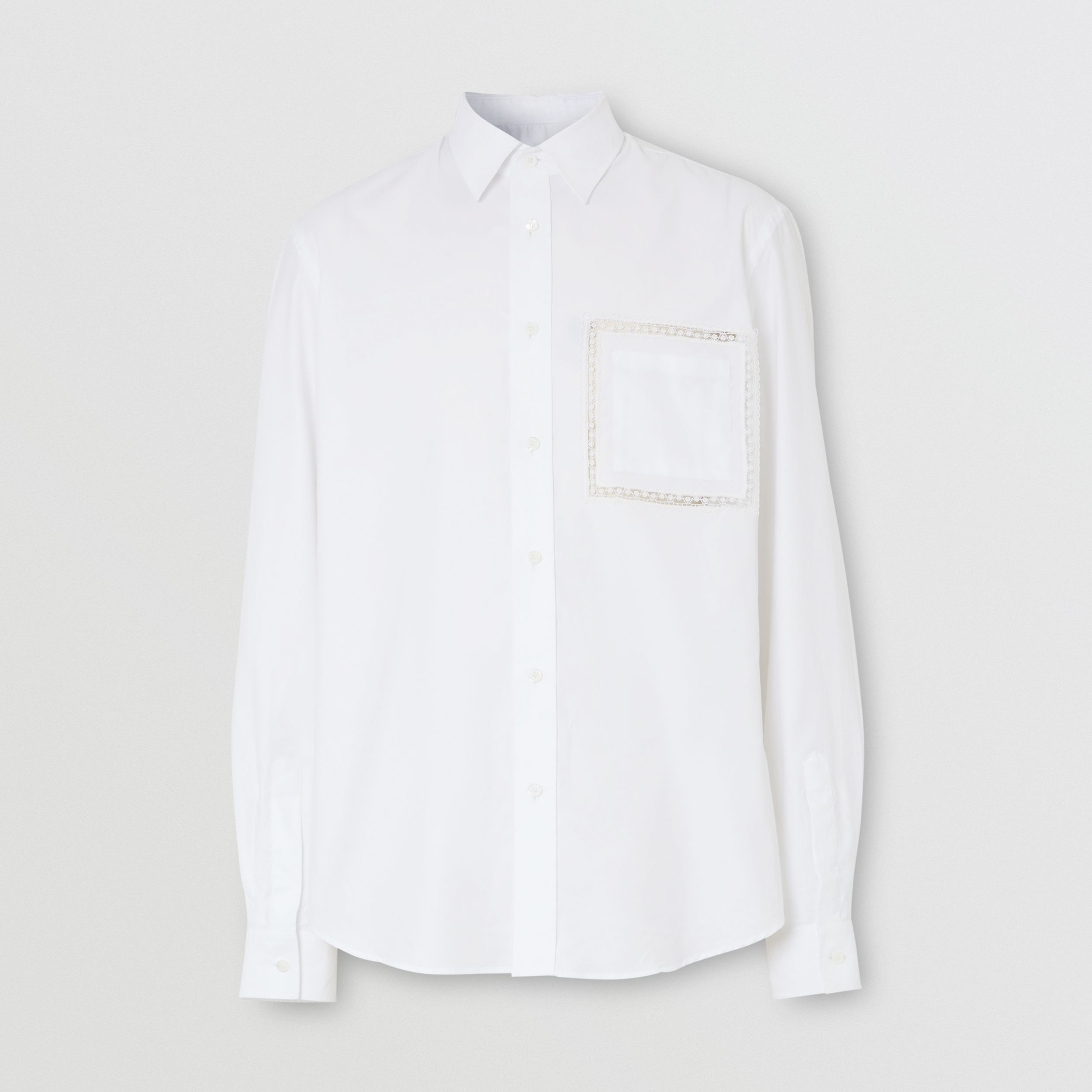 Classic Fit Lace Detail Cotton Poplin Oxford Shirt in Optic White - Men | Burberry - 4