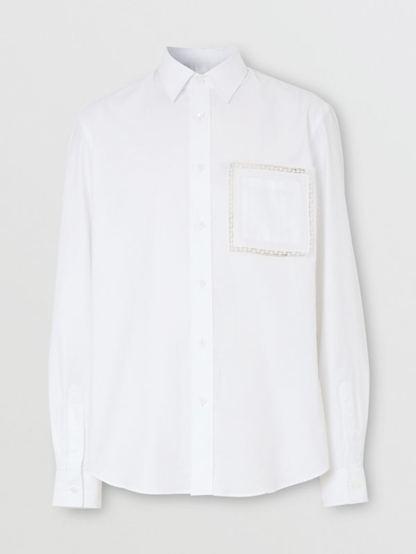 Classic Fit Lace Detail Cotton Poplin Oxford Shirt in Optic White | Burberry United Kingdom - cell image 3