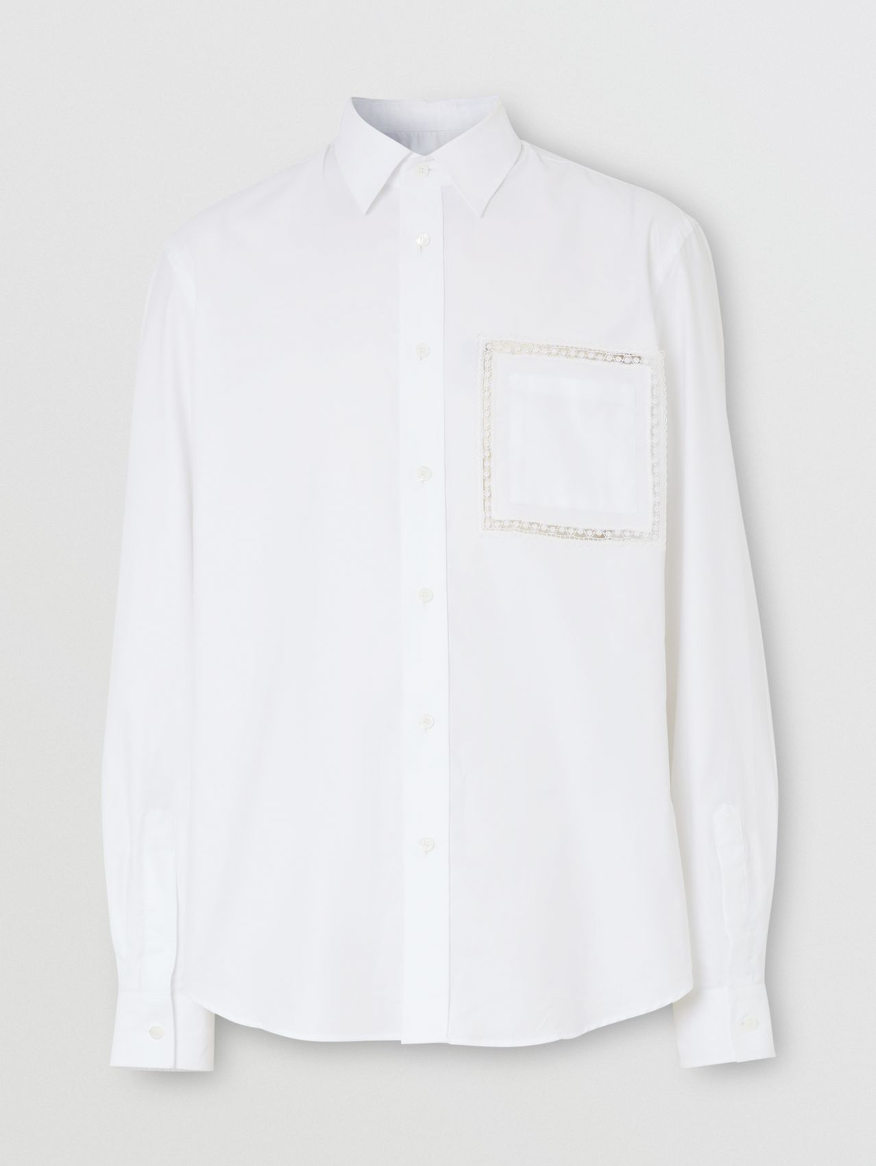 Classic Fit Lace Detail Cotton Poplin Oxford Shirt in Optic White