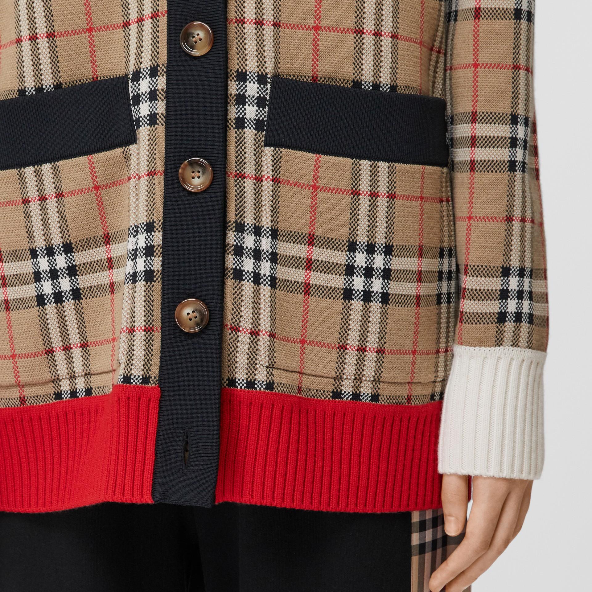Vintage Check Merino Wool Blend Jacquard Cardigan in Archive Beige - Women   Burberry - gallery image 4