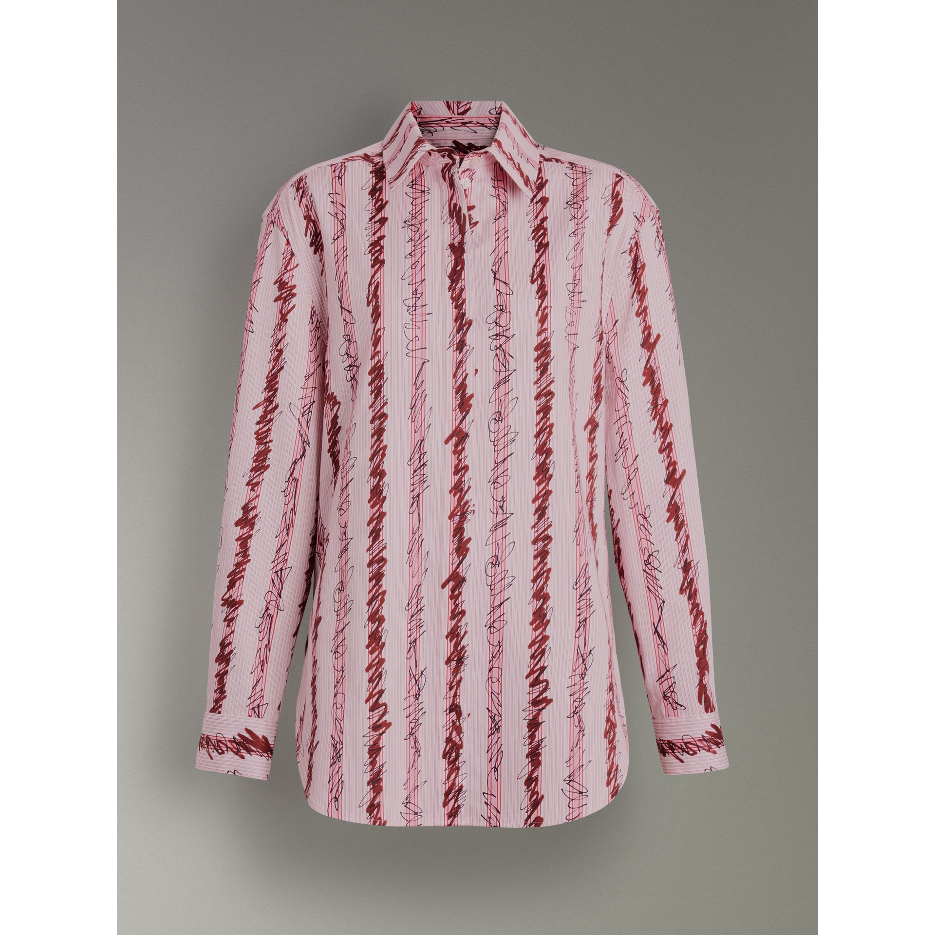 Scribble Stripe Cotton Shirt in Light Pink - Women | Burberry - gallery image 3