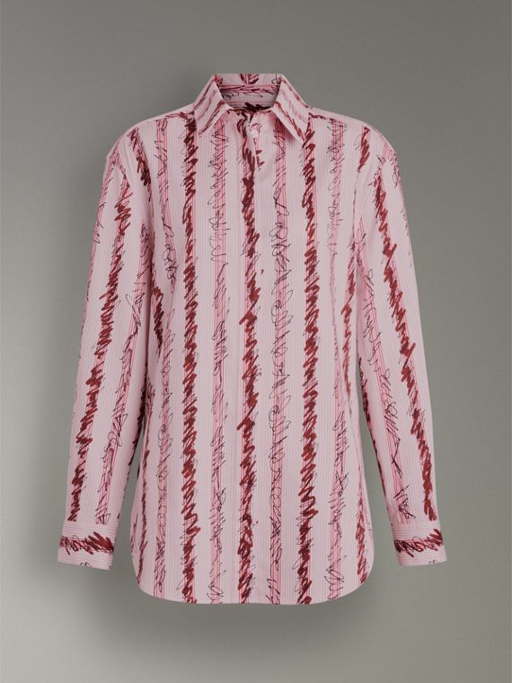 Scribble Stripe Cotton Shirt in Light Pink - Women | Burberry - cell image 3