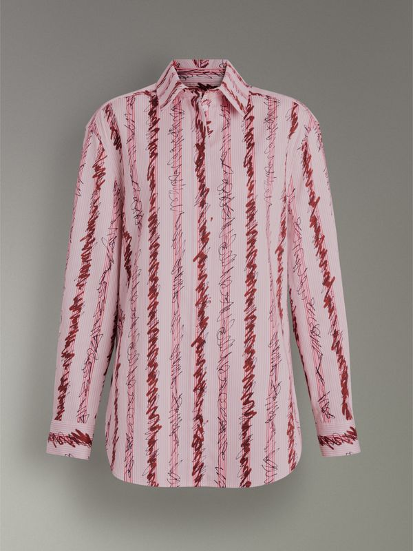 Scribble Stripe Cotton Shirt in Light Pink - Women | Burberry Australia - cell image 3