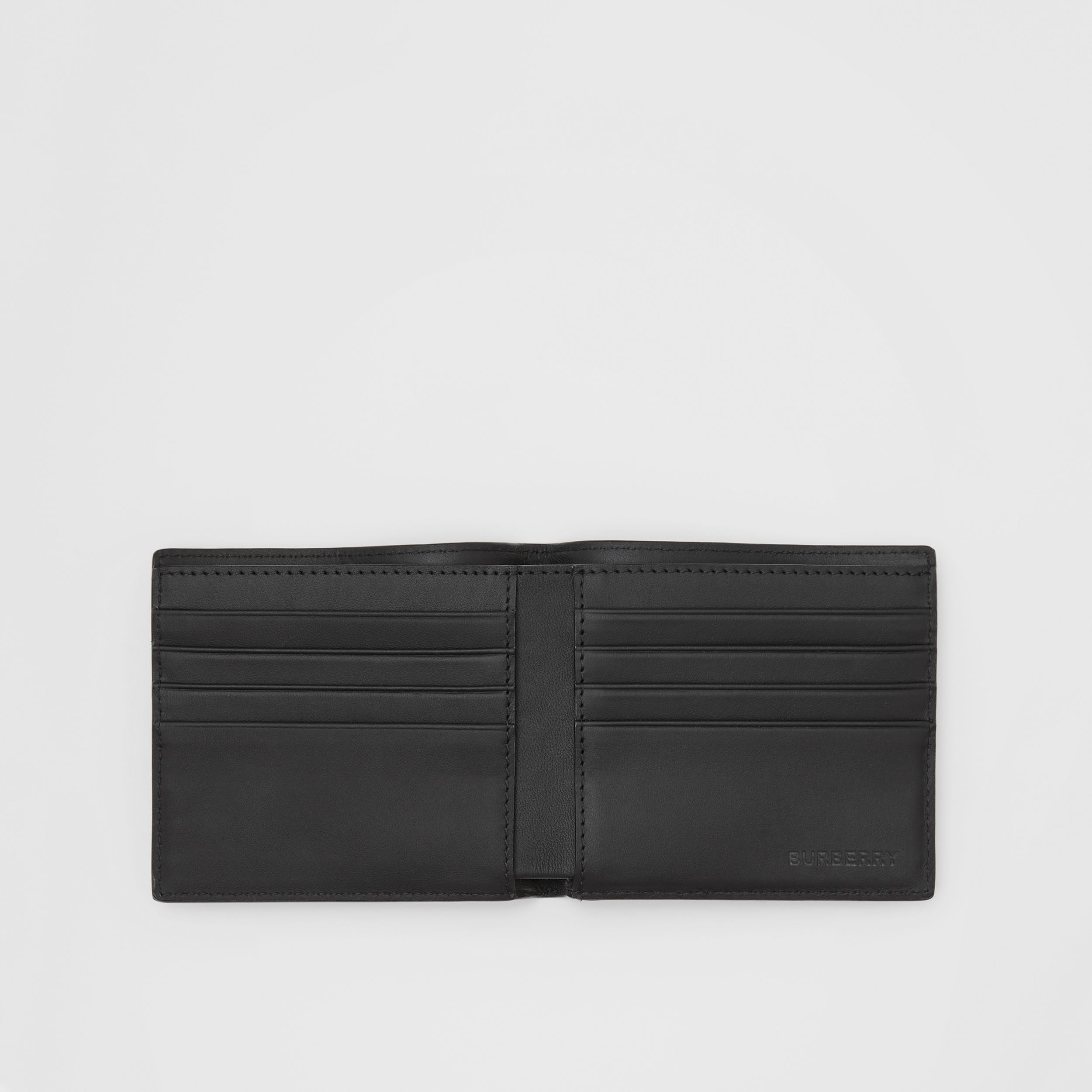 London Check and Leather International Bifold Wallet in Navy - Men | Burberry Singapore - 3