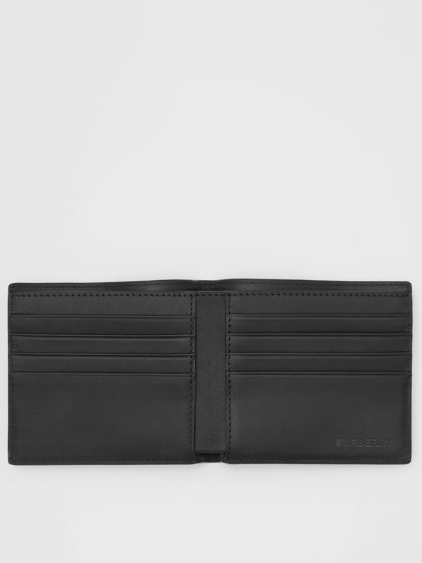London Check and Leather International Bifold Wallet in Navy - Men | Burberry United Kingdom - cell image 2
