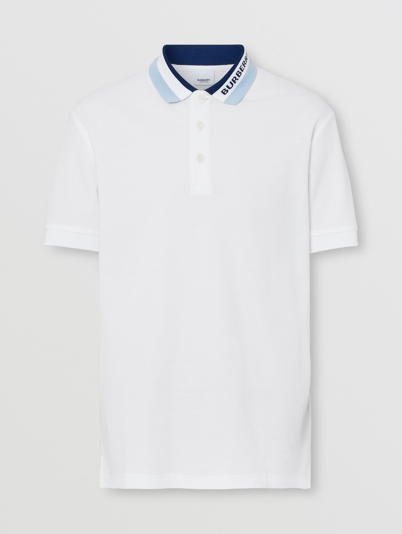Logo Detail Cotton Piqué Polo Shirt in White