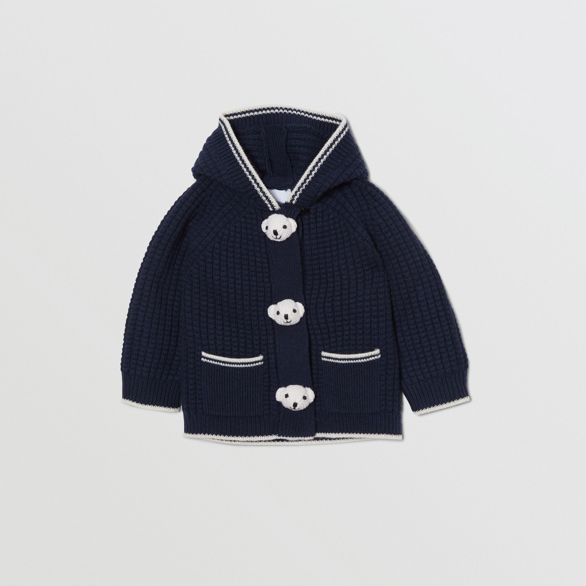 Thomas Bear Detail Wool Cashmere Hooded Jacket in Navy - Children | Burberry United States - gallery image 0