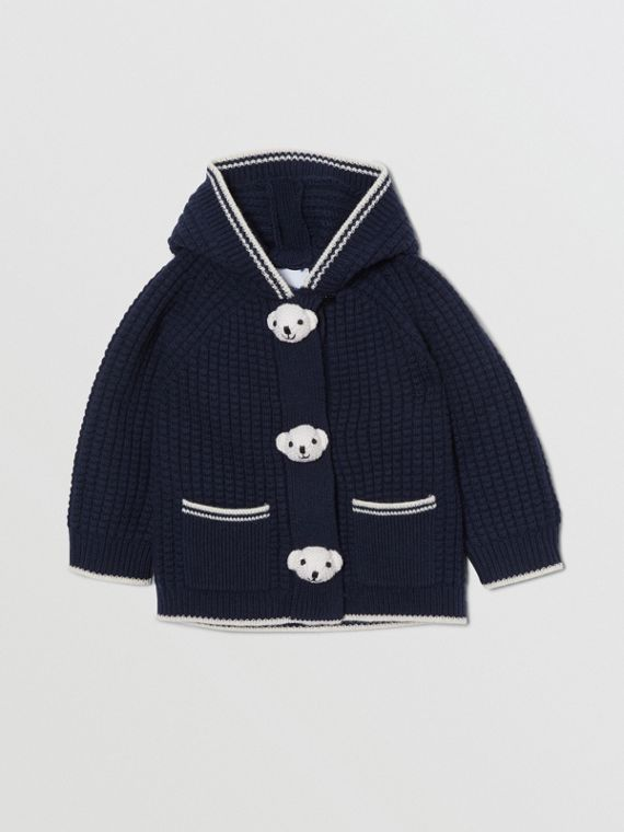 Thomas Bear Detail Wool Cashmere Hooded Jacket in Navy